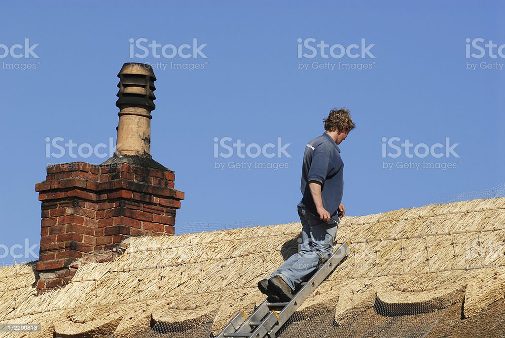 newly thatched roof royalty-free stock photo