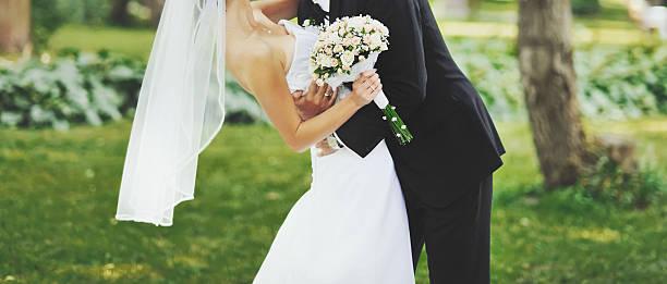 newly wed couple bonding stock photo