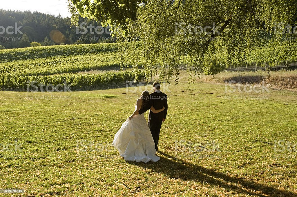 Newly Wed Couple Embracing Standing on Sunset stock photo