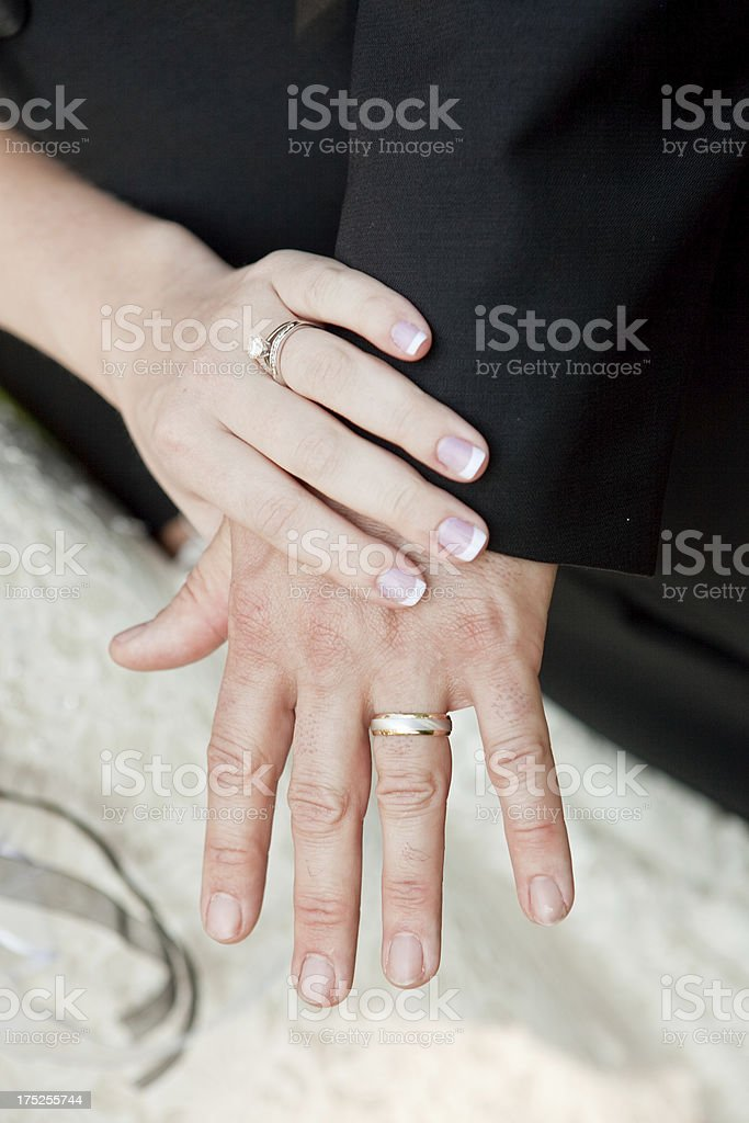 Newly Wed Couple Hands with Wedding Rings royalty-free stock photo