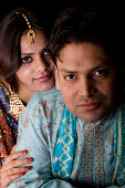 istock Newly Wed Indian Asian Couple vertical dark portrait 172712186