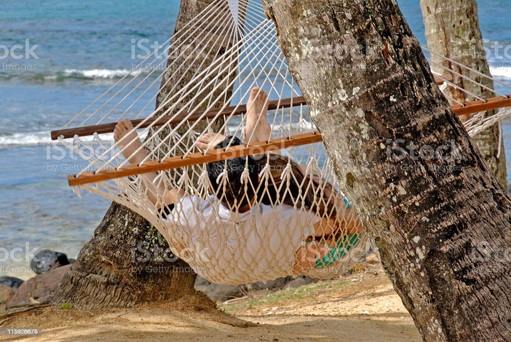 Newly Weds in a Hammock royalty-free stock photo