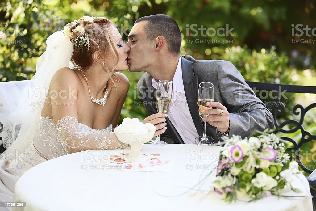 Newly-married couple kissing royalty-free stock photo