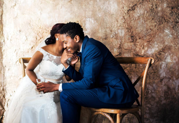 newlywed african descent couple wedding celebration - marriage stock pictures, royalty-free photos & images