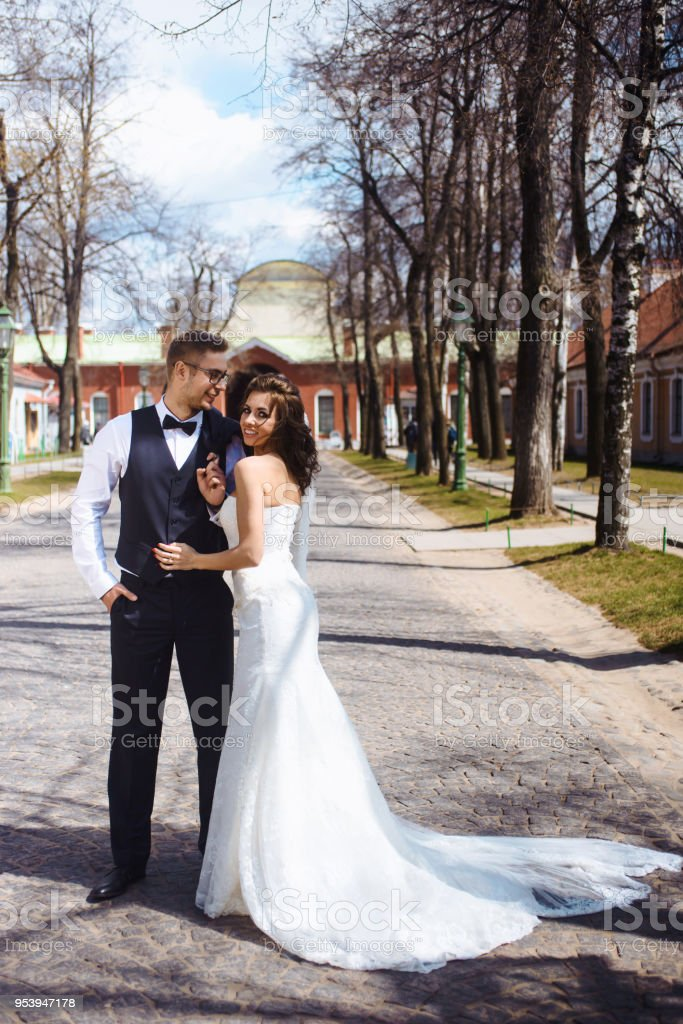 Newlywed Couple Bride And Groom Photoshoot After Wedding Ceremony In