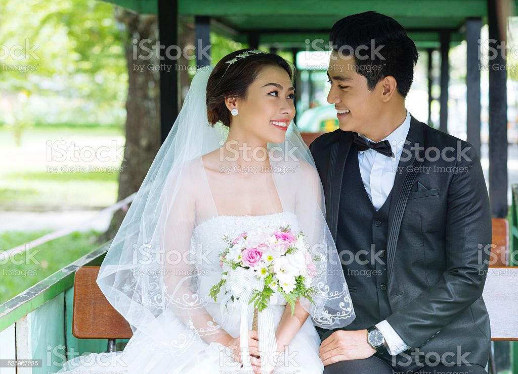 Newlywed couple stock photo