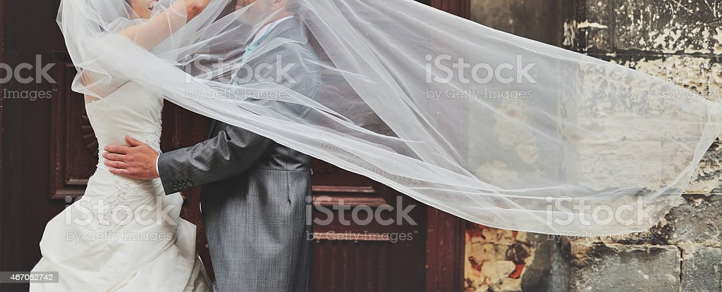 Newlywed couple together. stock photo