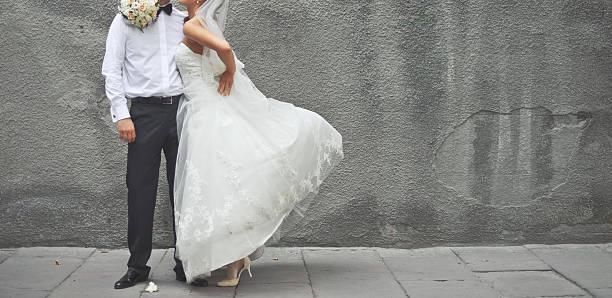 Newlywed couple together. stock photo