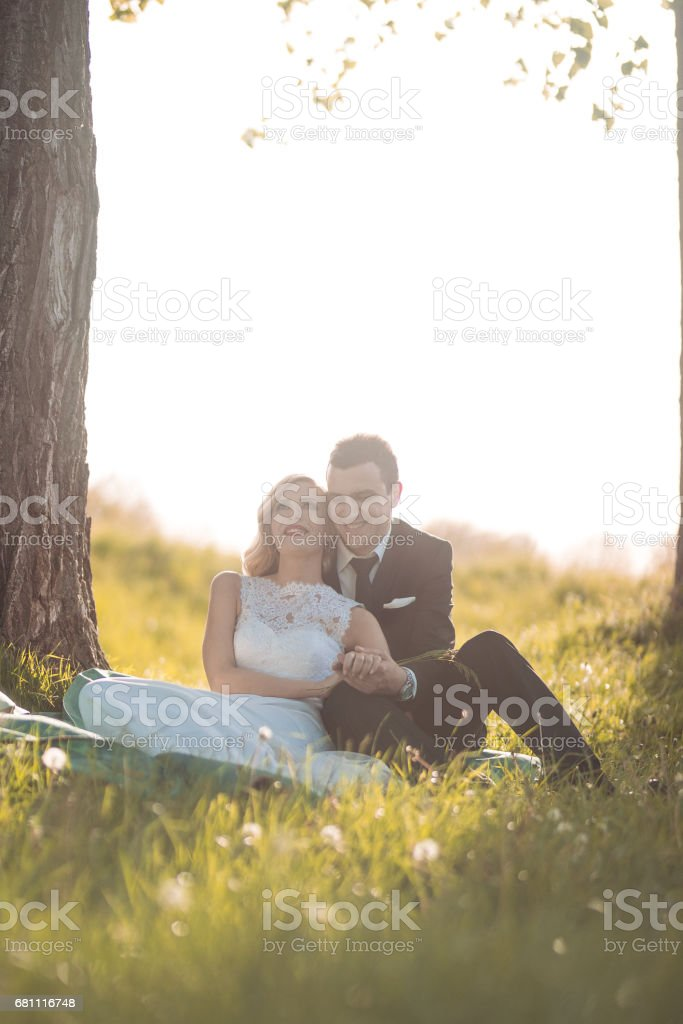 Newlywed enjoying spring together royalty-free stock photo