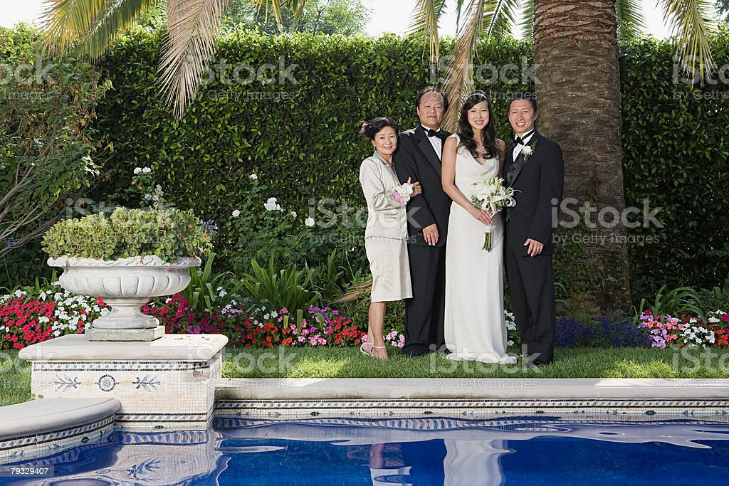 Newlyweds and family royalty-free stock photo