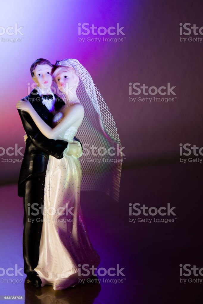 Newlyweds embraced bride and groom stock photo