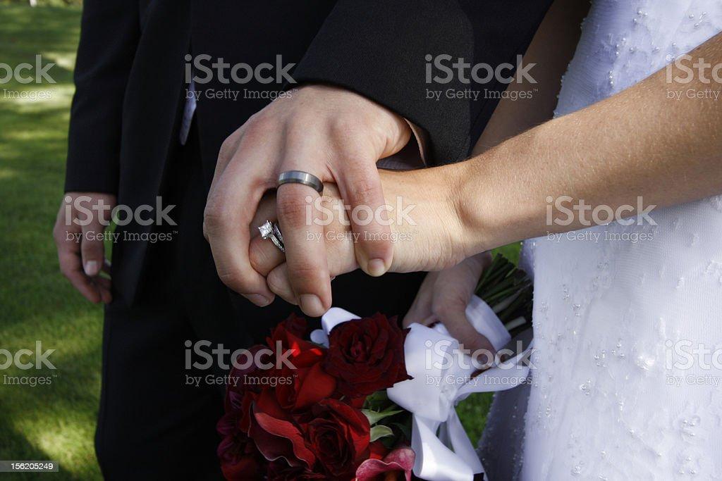 Newlyweds Holding Hands royalty-free stock photo