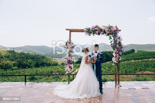 Newlyweds in love look at each other and enjoy the wedding day. They stand on an arch of pink, white and blue flowers