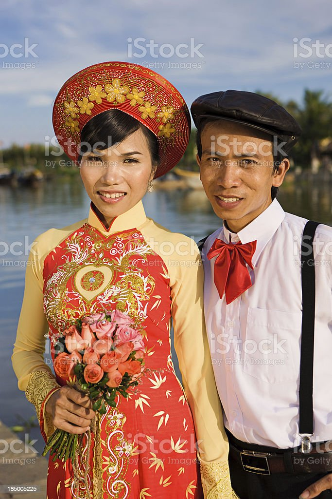 Newlyweds in Vietnam royalty-free stock photo