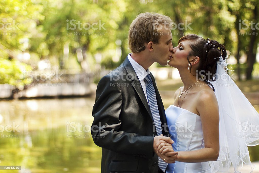 Newlyweds kissing in a park, holding hands royalty-free stock photo