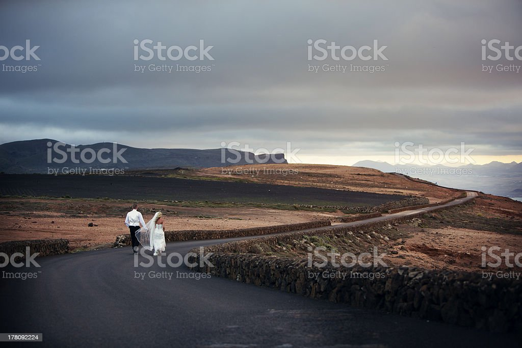 Newlyweds on the road royalty-free stock photo