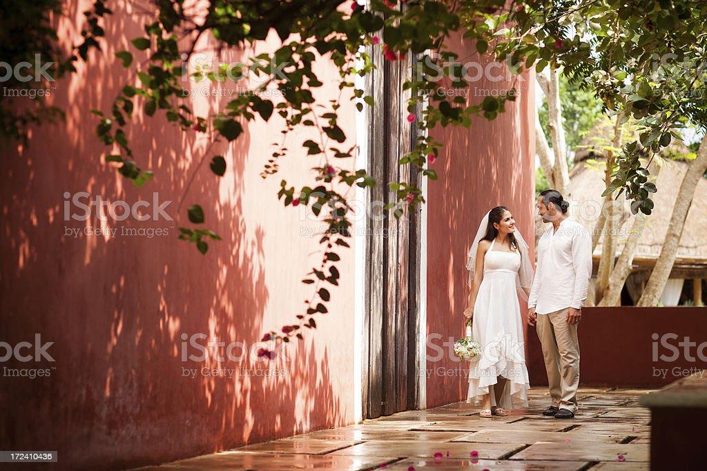 Newlyweds walking holding hands royalty-free stock photo