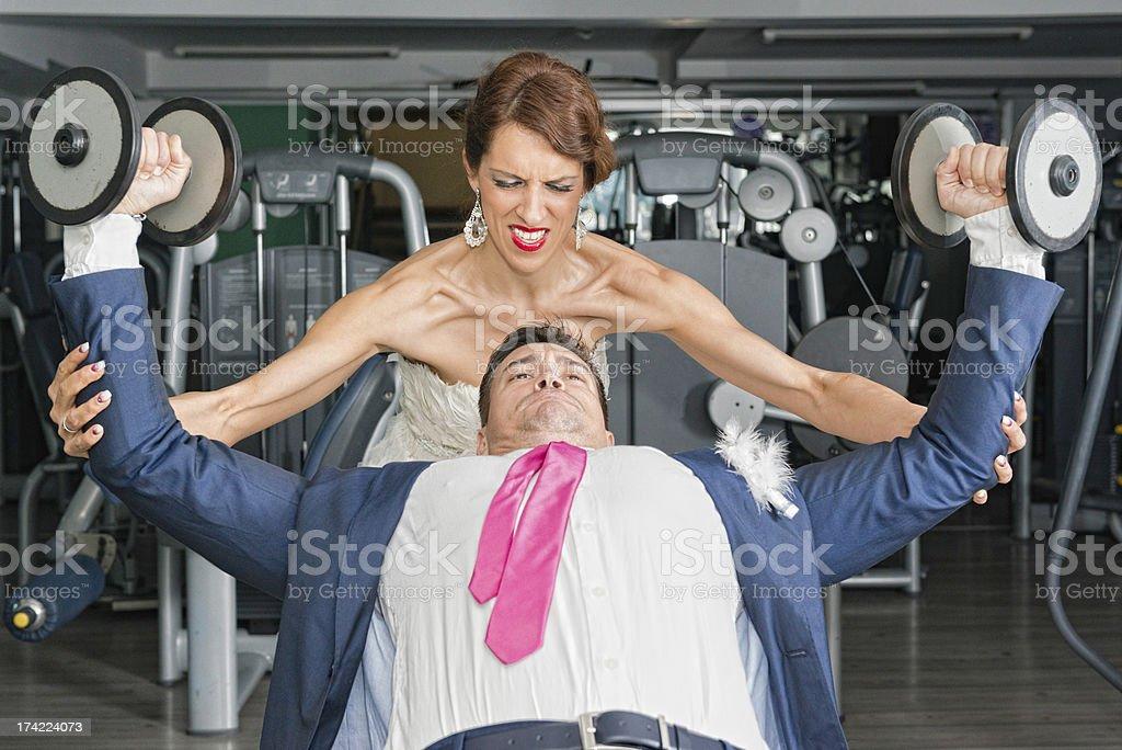 Newlyweds working hard stock photo