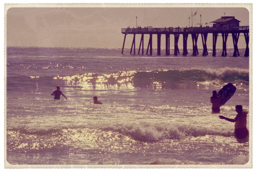 Retro-styled postcard of the pier at Newport Beach, California -- all artwork is my own...For hundreds of similar vintage postcards from around the world, click the banner below.