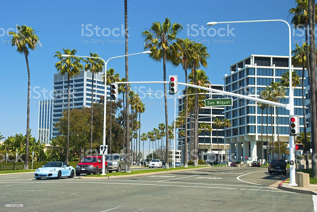 Newport Beach office towers and palm trees stock photo