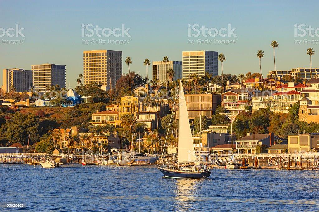 Newport Beach skyline and houses royalty-free stock photo