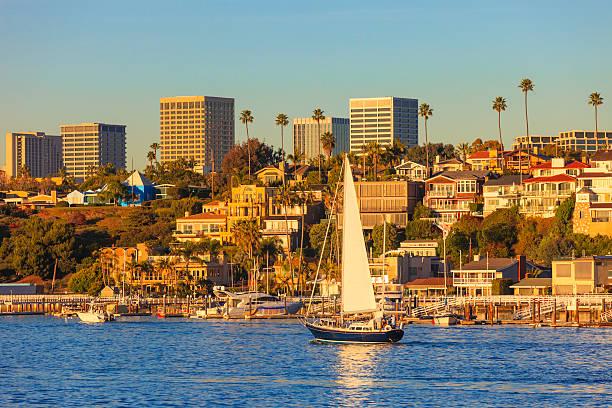 Newport Beach skyline and houses stock photo