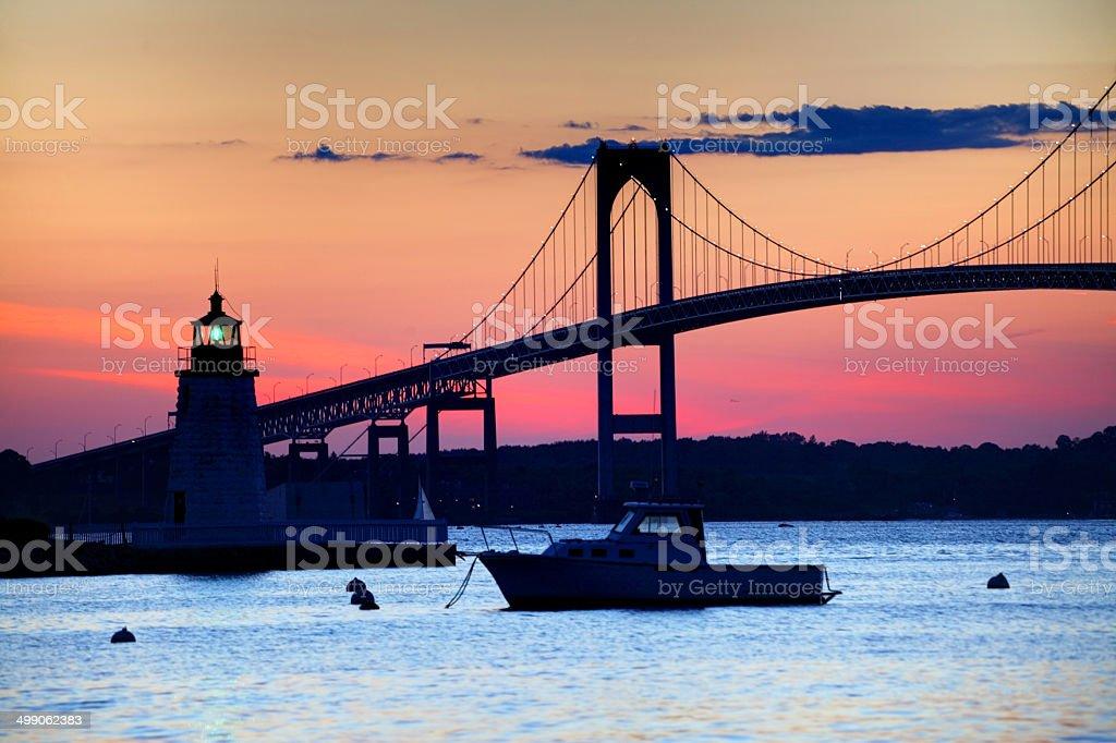 Newport Bridge and the Goat Island Lighthouse stock photo