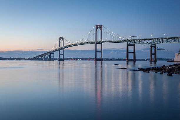 Newport Bridge at Twilight stock photo