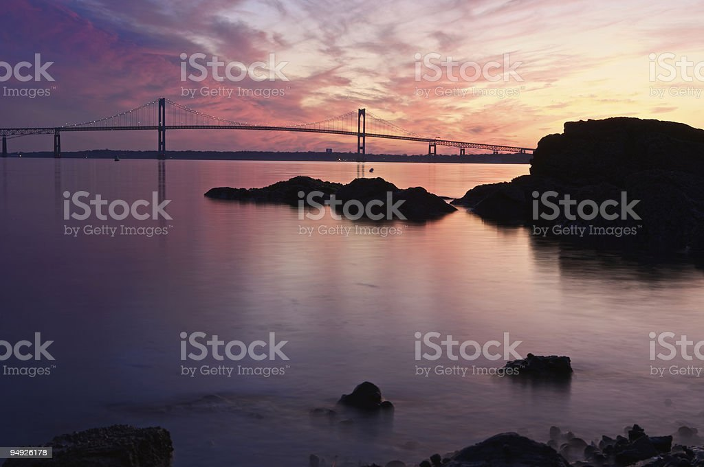 Newport Bridge at Twilight stock photo