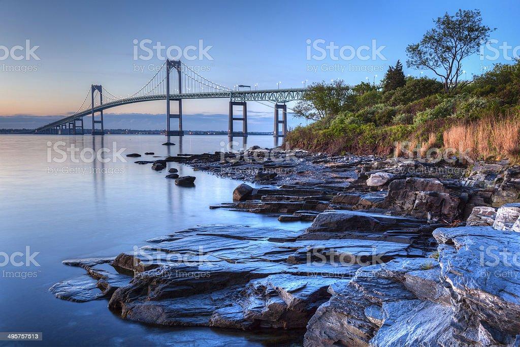 Newport Bridge Sunrise stock photo