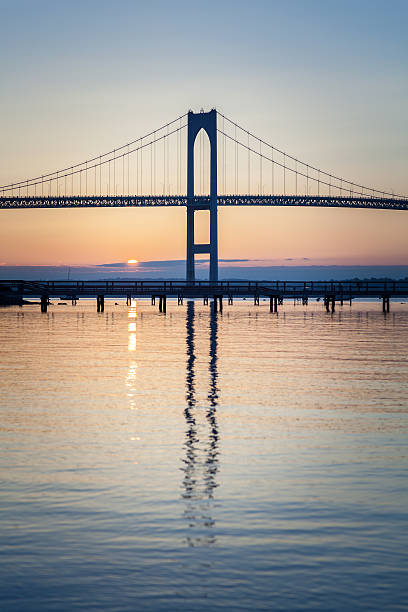 Newport Bridge Sunrise stock photo