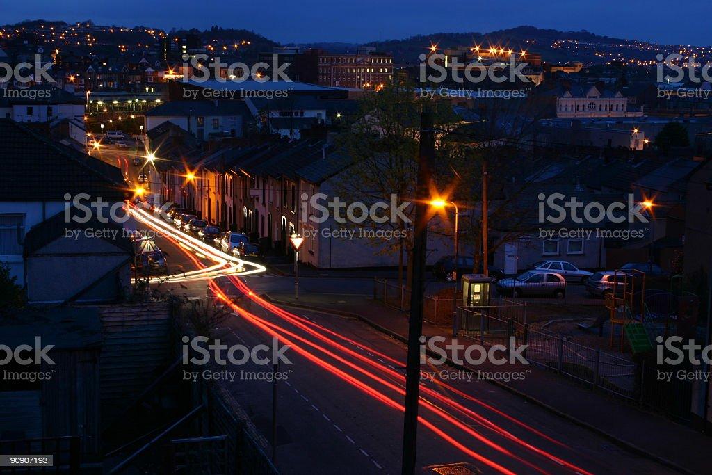 newport gwent urban nightscene with car light trails long exposure stock photo