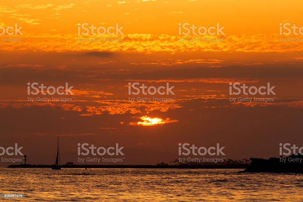 Newport Harbor Sunset stock photo