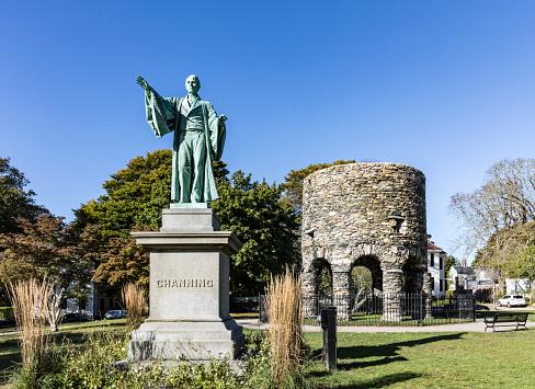 Newport Tower and Channing Statue, Tauro Park, Newport Rhode Island USA. Summer, 2016
