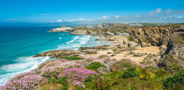 Newquay beach in North Cornwall Stunning coastal scenery with Newquay beach in North Cornwall, England, UK. uk stock pictures, royalty-free photos & images