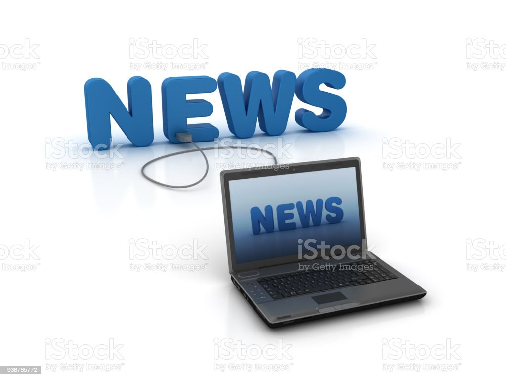 News 3D Word and Laptop - 3D Rendering stock photo