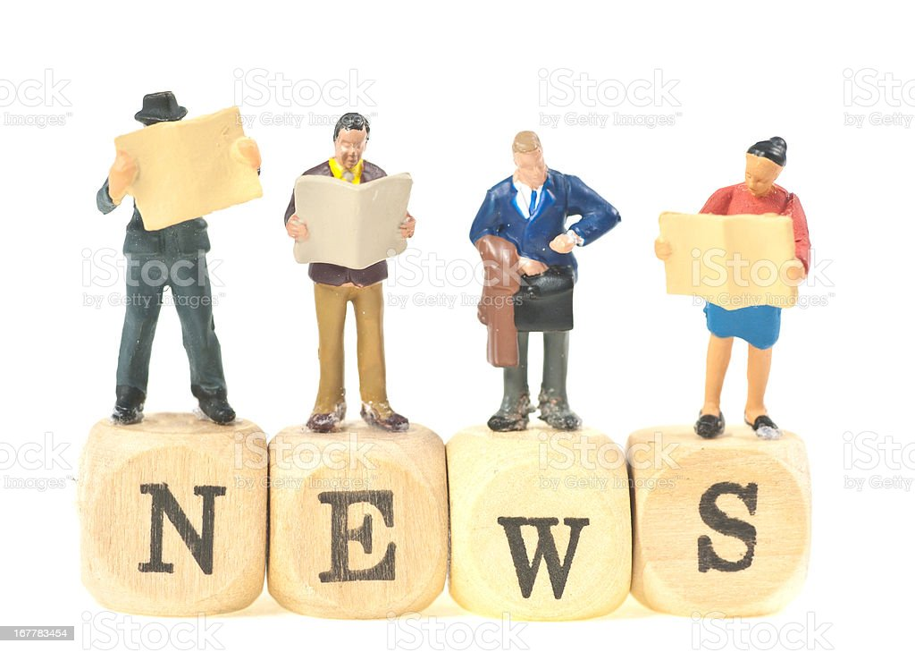 news abstract picture with small figurines stock photo