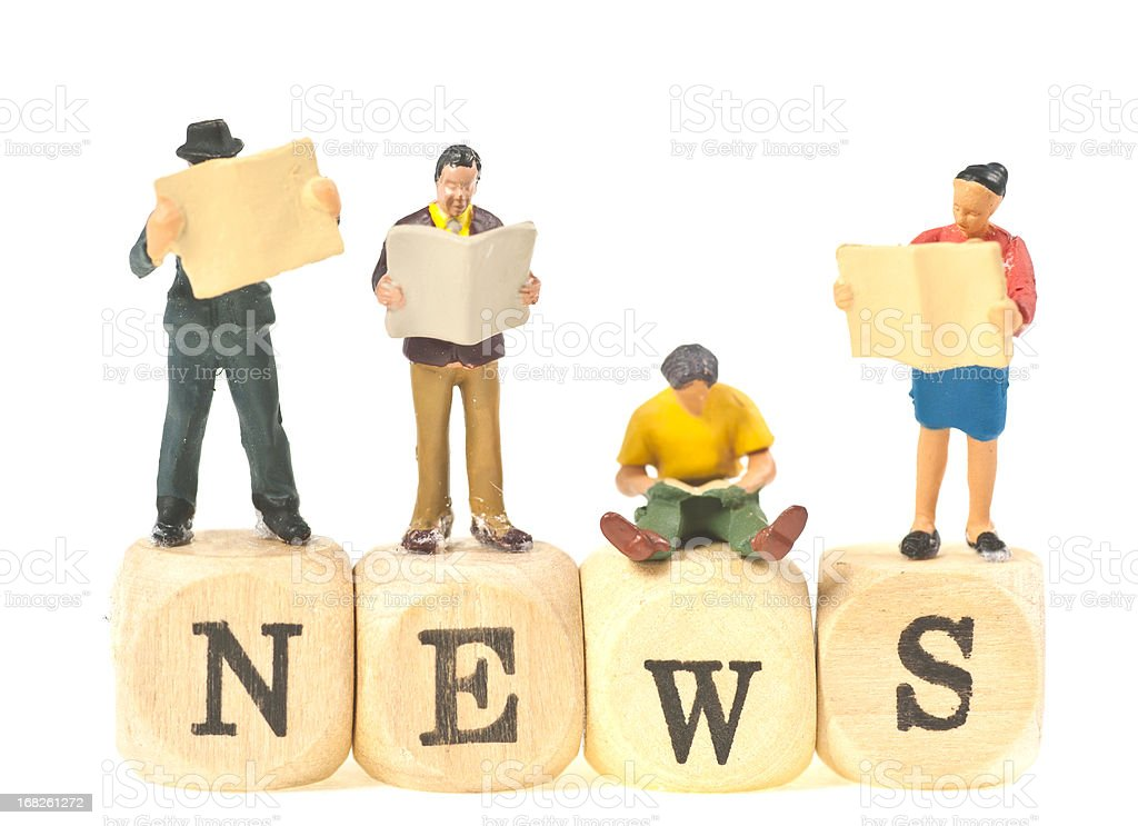 news abstract with figurines stock photo
