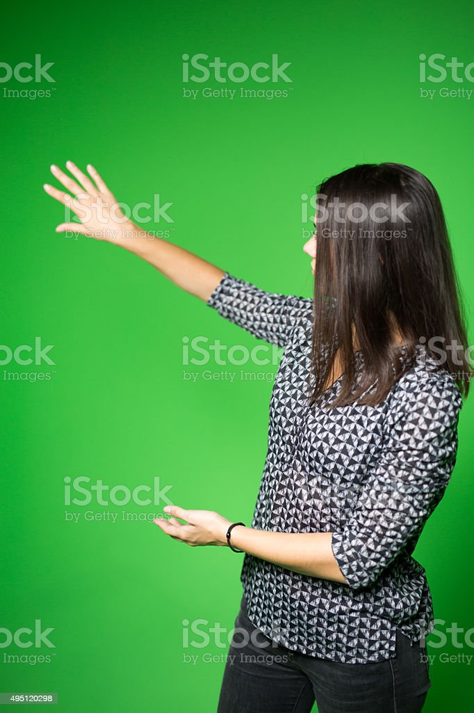 News anchor presenting the world weather report stock photo
