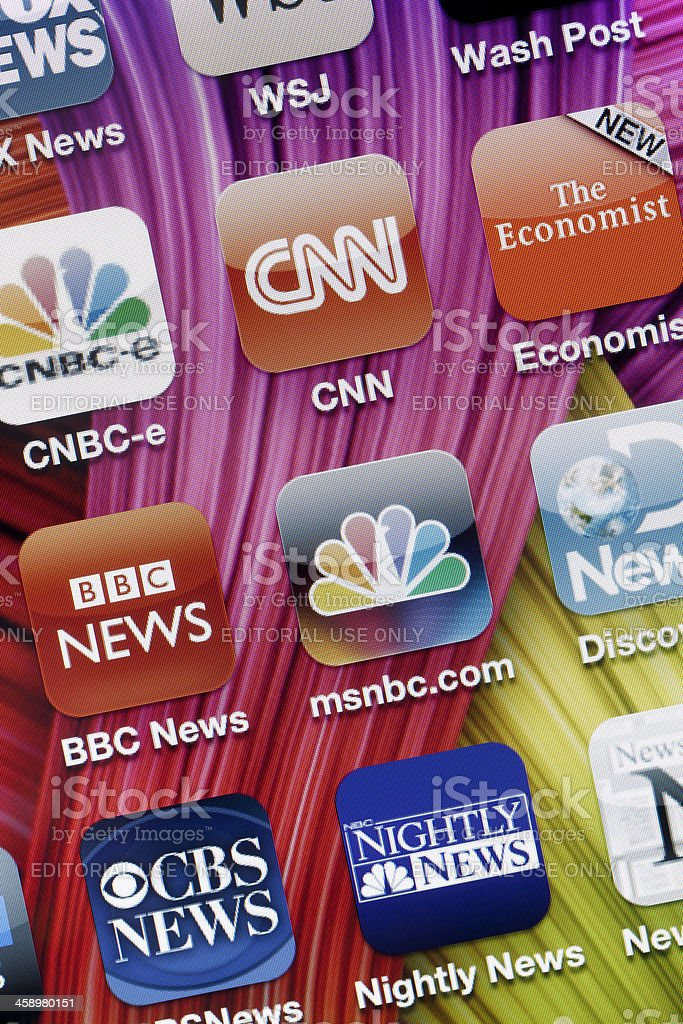 News Applications on Iphone 4 royalty-free stock photo
