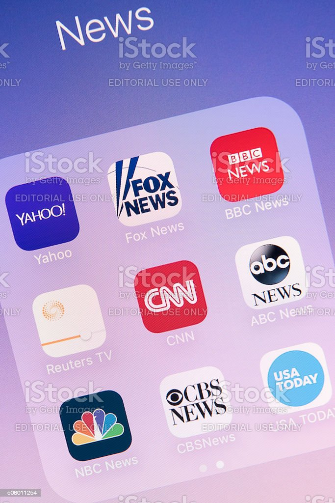 News Apps on Apple iPhone 6s Plus Screen stock photo