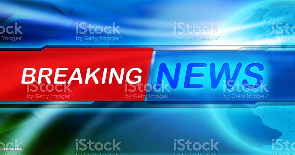 News-Hintergrundbild. News-Tag in der Mitte der Banner und der Erdkugel und blau glänzenden Hintergrund zu brechen. – Foto