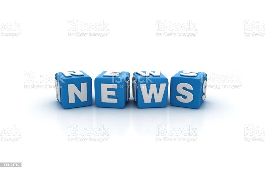 News Buzzword Cubes - 3D Rendering stock photo