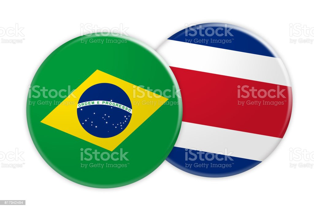 Concepto de noticias: Brasil bandera de Costa Rica bandera botón, Ilustración 3d sobre fondo blanco - foto de stock