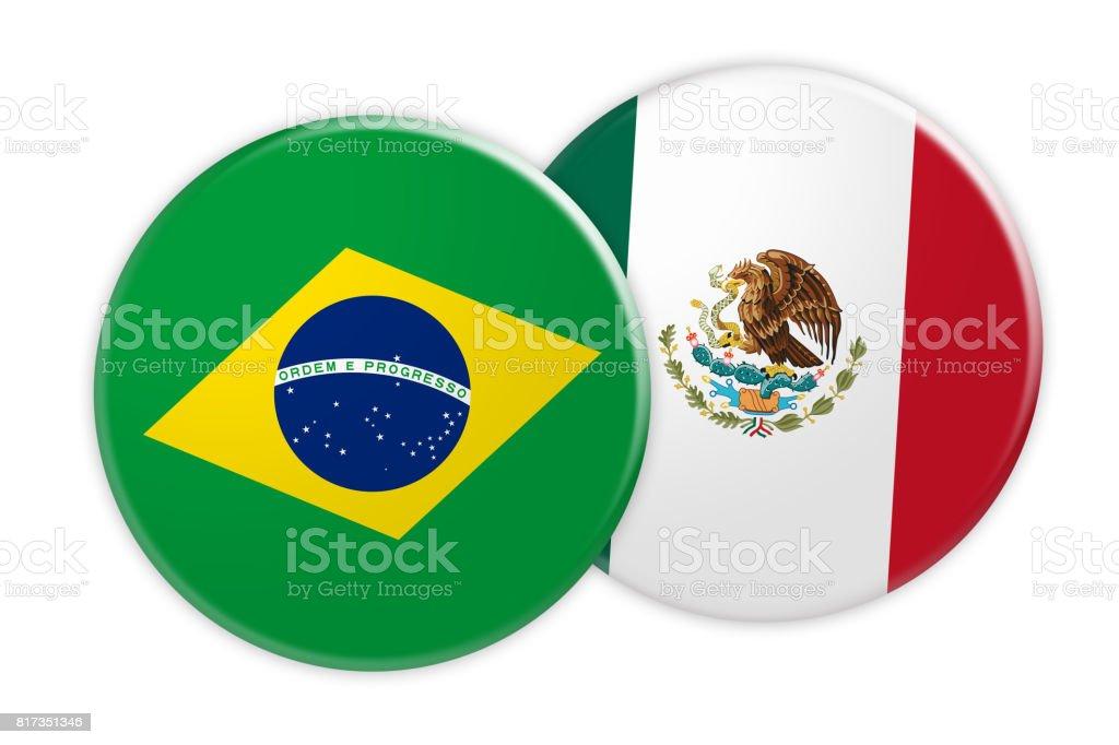 Concepto de noticias: Brasil bandera de México bandera botón, Ilustración 3d sobre fondo blanco - foto de stock