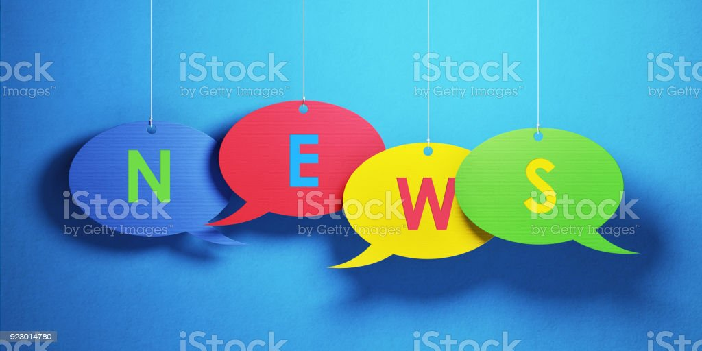 Green yellow red and blue colored chat bubbles over blue background....
