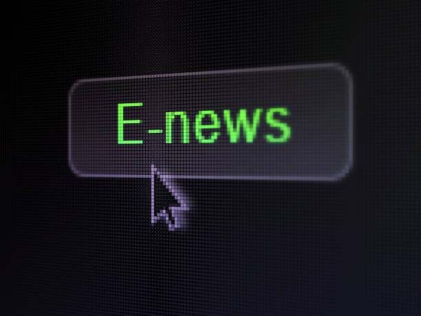 News concept: E-news on digital button background stock photo