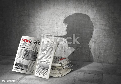 News concept. Fake news. Newspapers cast shadow in form of liar. 3d illustration