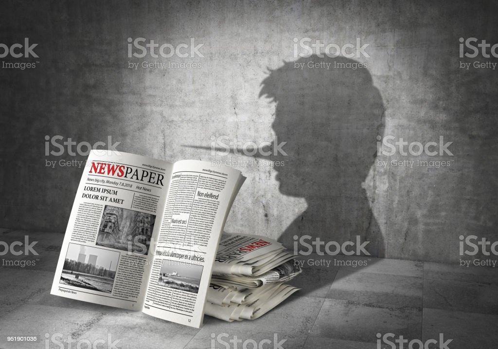 News concept. Fake news. Newspapers cast shadow in form of liar. 3d illustration stock photo