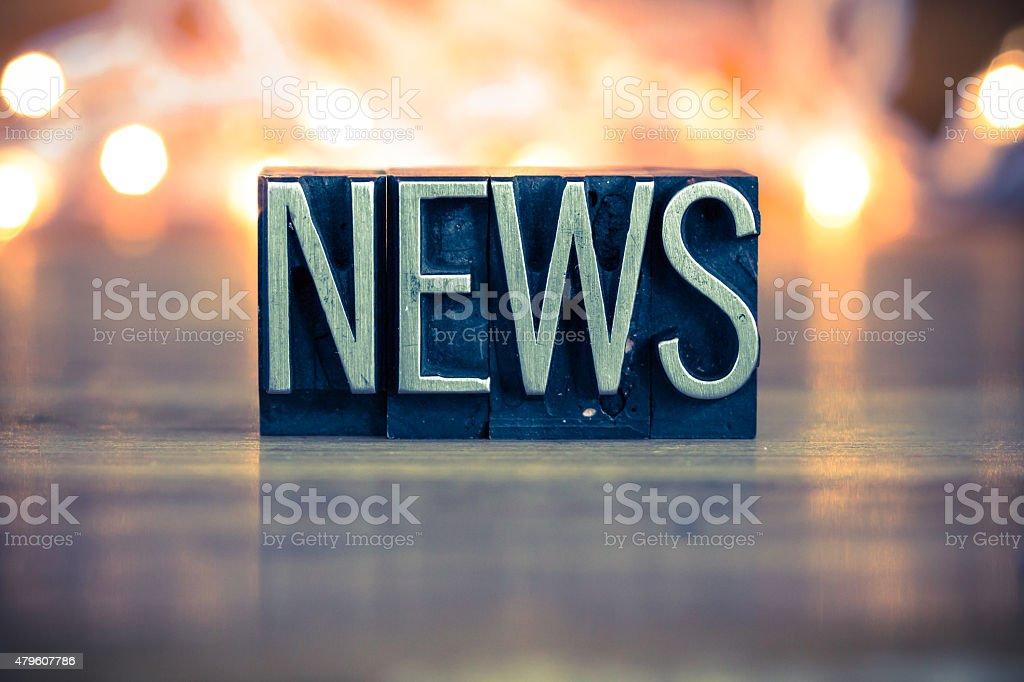 News Concept Metal Letterpress Type Concept Metal Letterpress Ty stock photo